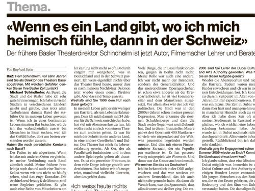 """""""Wenn es ein Land gibt, wo ich mich heimisch fühle, dann in der Schweiz"""" – Interview in the Basler Zeitung"""